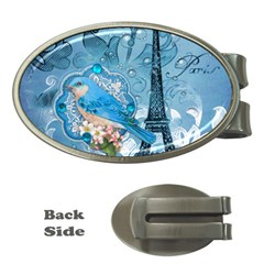 Girly Blue Bird Vintage Damask Floral Paris Eiffel Tower Money Clip (Oval)
