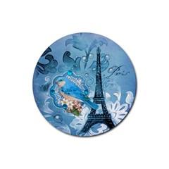Girly Blue Bird Vintage Damask Floral Paris Eiffel Tower Drink Coaster (round)