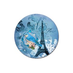Girly Blue Bird Vintage Damask Floral Paris Eiffel Tower Magnet 3  (round)