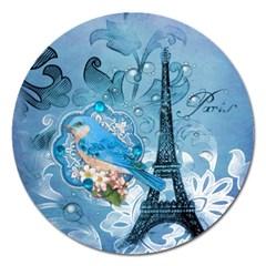 Girly Blue Bird Vintage Damask Floral Paris Eiffel Tower Magnet 5  (Round)