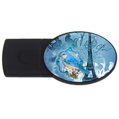 Girly Blue Bird Vintage Damask Floral Paris Eiffel Tower 1GB USB Flash Drive (Oval)