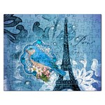 Girly Blue Bird Vintage Damask Floral Paris Eiffel Tower Jigsaw Puzzle (Rectangle) Front