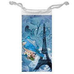 Girly Blue Bird Vintage Damask Floral Paris Eiffel Tower Jewelry Bag