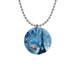 Girly Blue Bird Vintage Damask Floral Paris Eiffel Tower Button Necklace