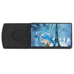 Girly Blue Bird Vintage Damask Floral Paris Eiffel Tower 4gb Usb Flash Drive (rectangle)