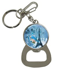 Girly Blue Bird Vintage Damask Floral Paris Eiffel Tower Bottle Opener Key Chain