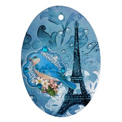 Girly Blue Bird Vintage Damask Floral Paris Eiffel Tower Oval Ornament (Two Sides)