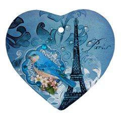 Girly Blue Bird Vintage Damask Floral Paris Eiffel Tower Heart Ornament (Two Sides)