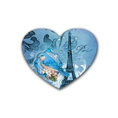 Girly Blue Bird Vintage Damask Floral Paris Eiffel Tower Drink Coasters (Heart)