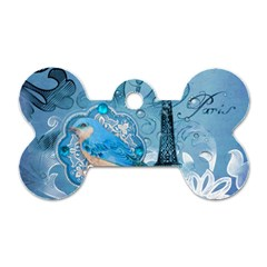 Girly Blue Bird Vintage Damask Floral Paris Eiffel Tower Dog Tag Bone (One Sided)