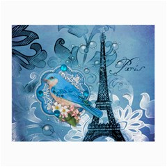 Girly Blue Bird Vintage Damask Floral Paris Eiffel Tower Glasses Cloth (Small, Two Sided)