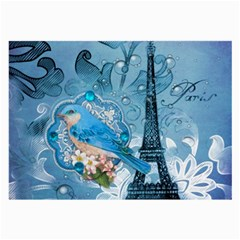 Girly Blue Bird Vintage Damask Floral Paris Eiffel Tower Glasses Cloth (Large)