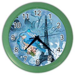 Girly Blue Bird Vintage Damask Floral Paris Eiffel Tower Wall Clock (Color)