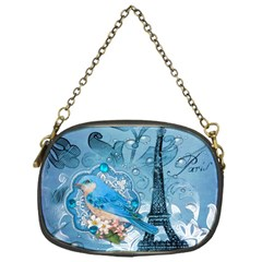 Girly Blue Bird Vintage Damask Floral Paris Eiffel Tower Chain Purse (One Side)