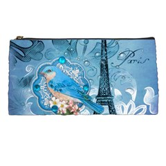 Girly Blue Bird Vintage Damask Floral Paris Eiffel Tower Pencil Case