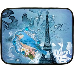Girly Blue Bird Vintage Damask Floral Paris Eiffel Tower Mini Fleece Blanket (Two Sided)