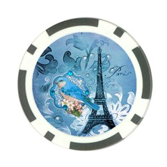 Girly Blue Bird Vintage Damask Floral Paris Eiffel Tower Poker Chip 10 Pack