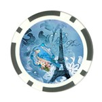 Girly Blue Bird Vintage Damask Floral Paris Eiffel Tower Poker Chip 10 Pack Front