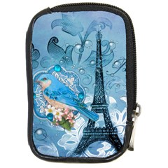 Girly Blue Bird Vintage Damask Floral Paris Eiffel Tower Compact Camera Leather Case