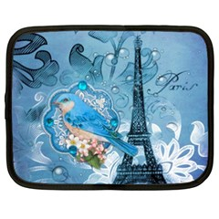 Girly Blue Bird Vintage Damask Floral Paris Eiffel Tower Netbook Case (XXL)