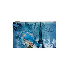 Girly Blue Bird Vintage Damask Floral Paris Eiffel Tower Cosmetic Bag (Small)