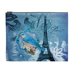 Girly Blue Bird Vintage Damask Floral Paris Eiffel Tower Cosmetic Bag (xl)