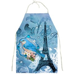 Girly Blue Bird Vintage Damask Floral Paris Eiffel Tower Apron