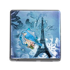 Girly Blue Bird Vintage Damask Floral Paris Eiffel Tower Memory Card Reader with Storage (Square)