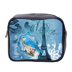 Girly Blue Bird Vintage Damask Floral Paris Eiffel Tower Mini Travel Toiletry Bag (Two Sides)