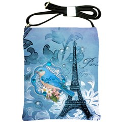 Girly Blue Bird Vintage Damask Floral Paris Eiffel Tower Shoulder Sling Bag