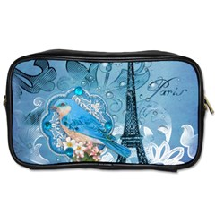 Girly Blue Bird Vintage Damask Floral Paris Eiffel Tower Travel Toiletry Bag (Two Sides)