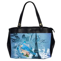 Girly Blue Bird Vintage Damask Floral Paris Eiffel Tower Oversize Office Handbag (two Sides)
