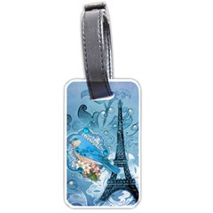 Girly Blue Bird Vintage Damask Floral Paris Eiffel Tower Luggage Tag (Two Sides)