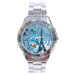 Girly Blue Bird Vintage Damask Floral Paris Eiffel Tower Stainless Steel Watch (Men s)