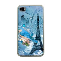 Girly Blue Bird Vintage Damask Floral Paris Eiffel Tower Apple iPhone 4 Case (Clear)