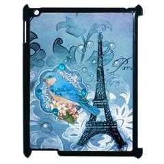 Girly Blue Bird Vintage Damask Floral Paris Eiffel Tower Apple iPad 2 Case (Black)
