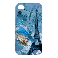 Girly Blue Bird Vintage Damask Floral Paris Eiffel Tower Apple iPhone 4/4S Hardshell Case
