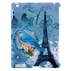 Girly Blue Bird Vintage Damask Floral Paris Eiffel Tower Apple iPad 3/4 Hardshell Case (Compatible with Smart Cover)
