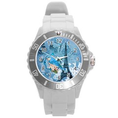 Girly Blue Bird Vintage Damask Floral Paris Eiffel Tower Plastic Sport Watch (large)