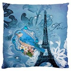Girly Blue Bird Vintage Damask Floral Paris Eiffel Tower Large Cushion Case (Single Sided)