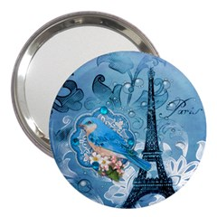 Girly Blue Bird Vintage Damask Floral Paris Eiffel Tower 3  Handbag Mirror