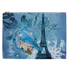 Girly Blue Bird Vintage Damask Floral Paris Eiffel Tower Cosmetic Bag (XXL)