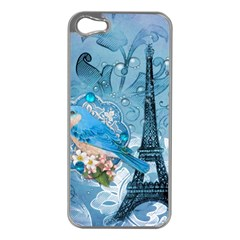 Girly Blue Bird Vintage Damask Floral Paris Eiffel Tower Apple iPhone 5 Case (Silver)