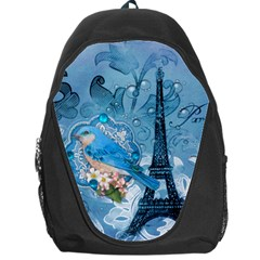 Girly Blue Bird Vintage Damask Floral Paris Eiffel Tower Backpack Bag