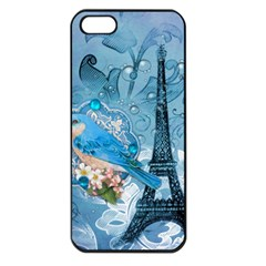 Girly Blue Bird Vintage Damask Floral Paris Eiffel Tower Apple iPhone 5 Seamless Case (Black)
