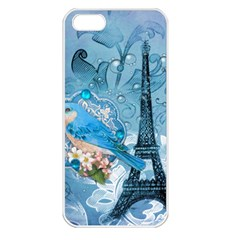 Girly Blue Bird Vintage Damask Floral Paris Eiffel Tower Apple iPhone 5 Seamless Case (White)