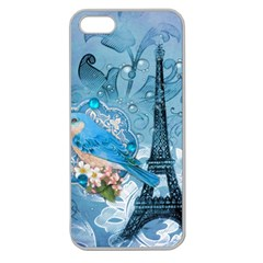 Girly Blue Bird Vintage Damask Floral Paris Eiffel Tower Apple Seamless iPhone 5 Case (Clear)
