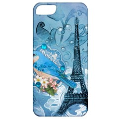 Girly Blue Bird Vintage Damask Floral Paris Eiffel Tower Apple iPhone 5 Classic Hardshell Case