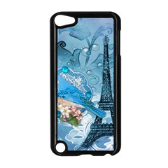 Girly Blue Bird Vintage Damask Floral Paris Eiffel Tower Apple iPod Touch 5 Case (Black)
