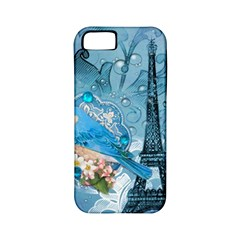 Girly Blue Bird Vintage Damask Floral Paris Eiffel Tower Apple iPhone 5 Classic Hardshell Case (PC+Silicone)